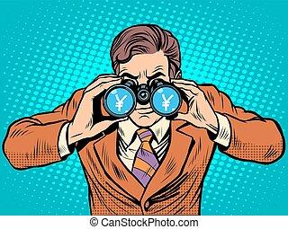 Financial monitoring of currency yen businessman binoculars ...