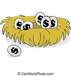 Financial nest - Cartoon illustration showing eggs with...
