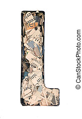 financial news  newspaper cut up into confetti  to make  the captal letter