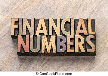 financial numbers in letterpress wood type