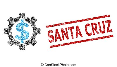 Financial Options Recursive Mosaic of Financial Options Icons and Scratched Santa Cruz Seal Stamp