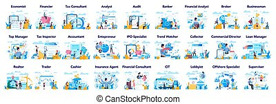 Financial or business profession set. Business character ...