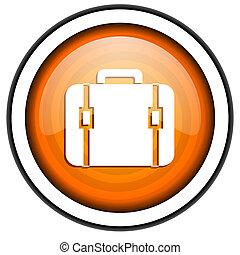 financial orange glossy icon isolated on white background