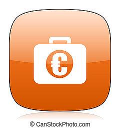 financial orange square web design glossy icon
