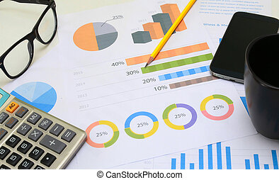 financial paperwork and reports, graph, planning