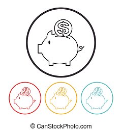 financial piggybank line icon