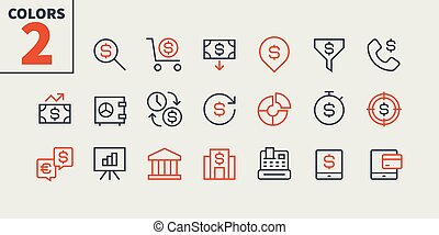 Financial Pixel Perfect Well-crafted Vector Thin Line Icons 48x48 Ready for 24x24 Grid for Web Graphics and Apps with Editable Stroke. Simple Minimal Pictogram Part 1