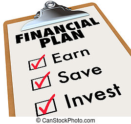 Financial Plan Clipboard Money Saving Strategy Steps -...