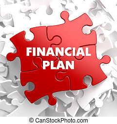 Financial Plan on Red Puzzle on White Background.