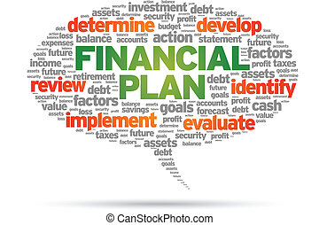 Financial Plan speech bubble illustration on white...