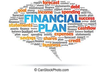 Financial Plan word speech bubble illustration on white...