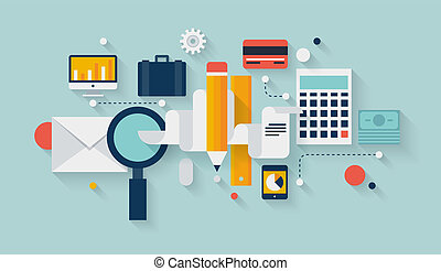 Flat design vector illustration infographic concept with icons set of modern business working elements, finance paperwork objects and financial planning for development business project. Isolated on stylish color background.
