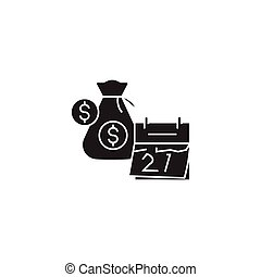 Financial planning black vector concept icon. Financial planning flat illustration, sign