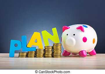 financial planning concept,piggybank and stacking coins on wooden desk over beautiful reverberation gradient background