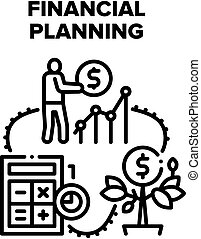 Financial Planning Economy Vector Icon Concept. Financial Planning Advising And Consultation, Finance Advisor Consulate For Earning Money And Investment Operation Black Illustration