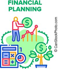 Financial Planning Economy Vector Icon Concept. Financial Planning Advising And Consultation, Finance Advisor Consulate For Earning Money And Investment Operation Color Illustration