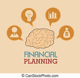 financial planning illustration over pink background. vector...