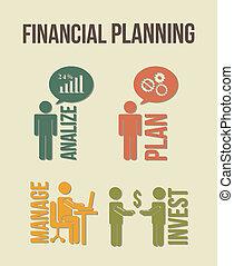 financial planning illustration over beige background. ...