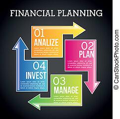 financial planning illustration over black background. vector