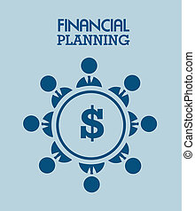 financial planning illustration over blue background. vector...