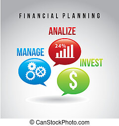 financial planning illustration over gray background. vector