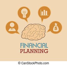 financial planning illustration over pink background. vector...