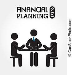 financial planning illustration over white background. vector illustration