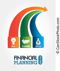 financial planning illustration over white background....