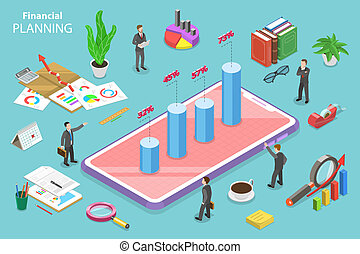 Financial planning isometric flat vector conceptual illustration.