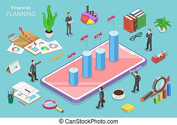 Financial planning isometric flat vector conceptual illustration.