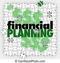 Financial Planning Puzzle Pieces Finish Budget Retirement...
