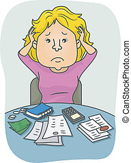 Financial Problems - Illustration Featuring a Woman Confused...