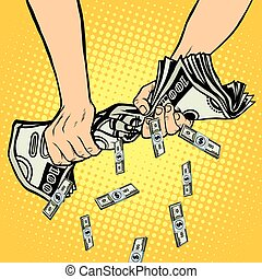 Financial profit, hands squeeze out of the money dollars
