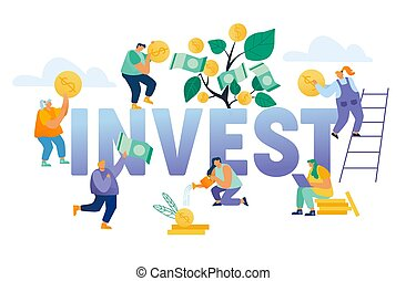 Financial Profit Investment Income Concept. Business People Grow Plant in Pot and Collecting Golden Coins and Banknotes from Money Tree Poster Banner Flyer Brochure. Cartoon Flat Vector Illustration