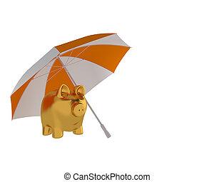 Financial protection. Gold piggy bank with umbrella