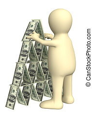 Financial pyramid - 3d puppet, making a pyramid from money. ...