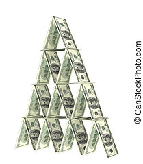 Financial pyramid. Objects over white