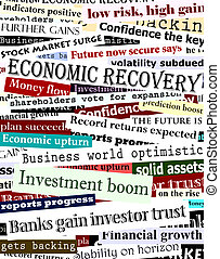 Financial recovery headlines - Background design of...