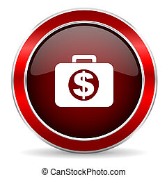financial red circle glossy web icon, round button with metallic border