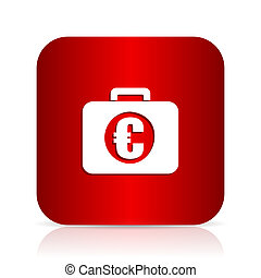 financial red square modern design icon