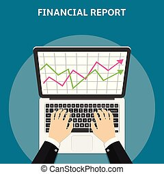 Financial report concept. Flat style vector.