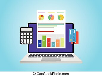 financial report concept use computer, graph, computer and...