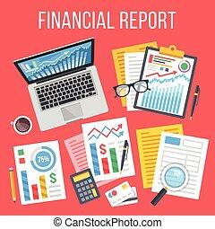Financial report flat concept