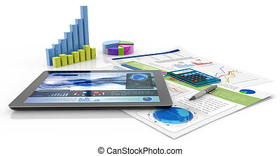 financial report - graphics, calculator, pen, tablet and...