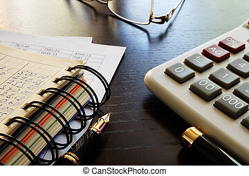 Financial report of small business on an office desk.