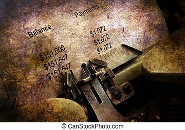 Financial report on vintage typewriter