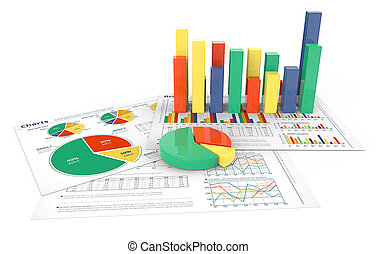 Financial Reports. - 3d illustration of Financial documents...