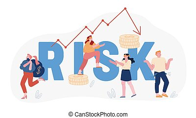 Financial Risk and Economy Crisis Concept. Blindfold Businesspeople Walk around Arrow Diagram Going Down. Investment Fail, Money Problem Poster Banner Flyer Brochure. Cartoon Flat Vector Illustration