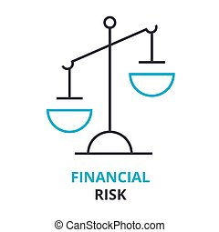 financial risk concept , outline icon, linear sign, thin line pictogram, logo, flat illustration, vector