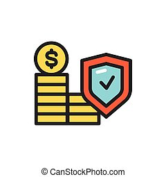 Financial risk insurance color line icon. Isolated vector element.